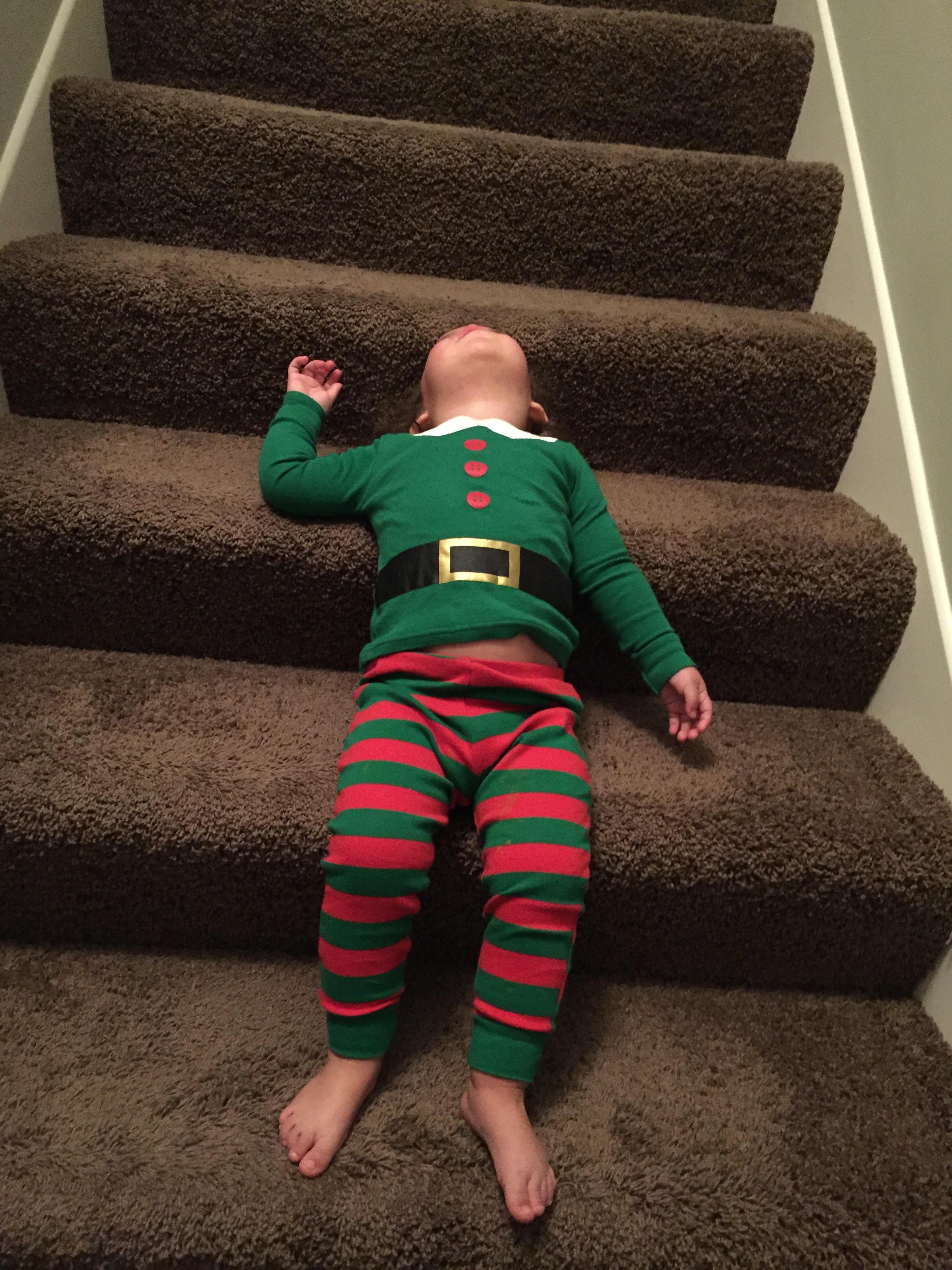 Oh the drama of waiting on the stairs to see what Santa brought!