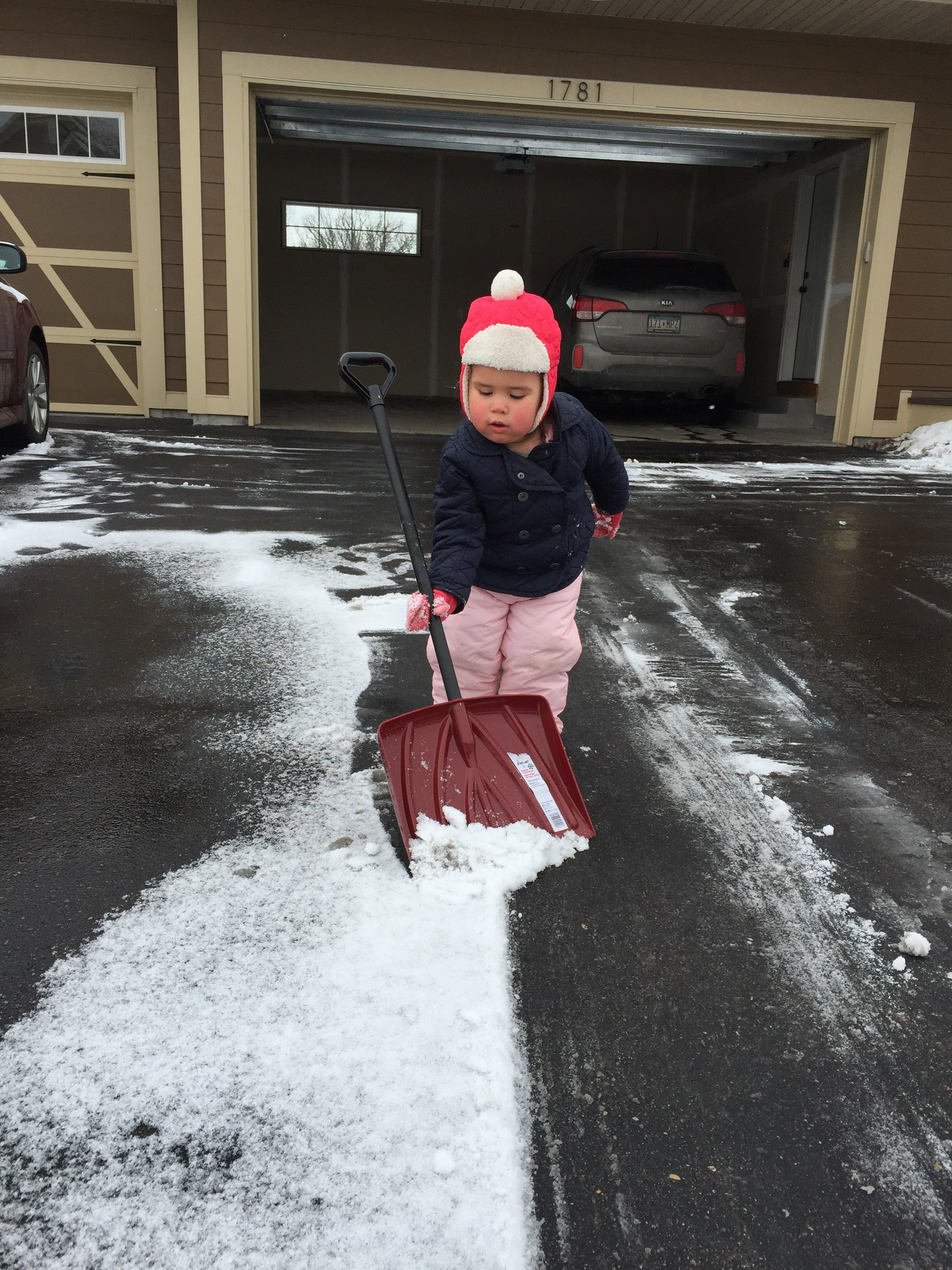 My helper...kinda. After we're done shoveling, she throws snow back onto the driveway and tells me I forgot some!