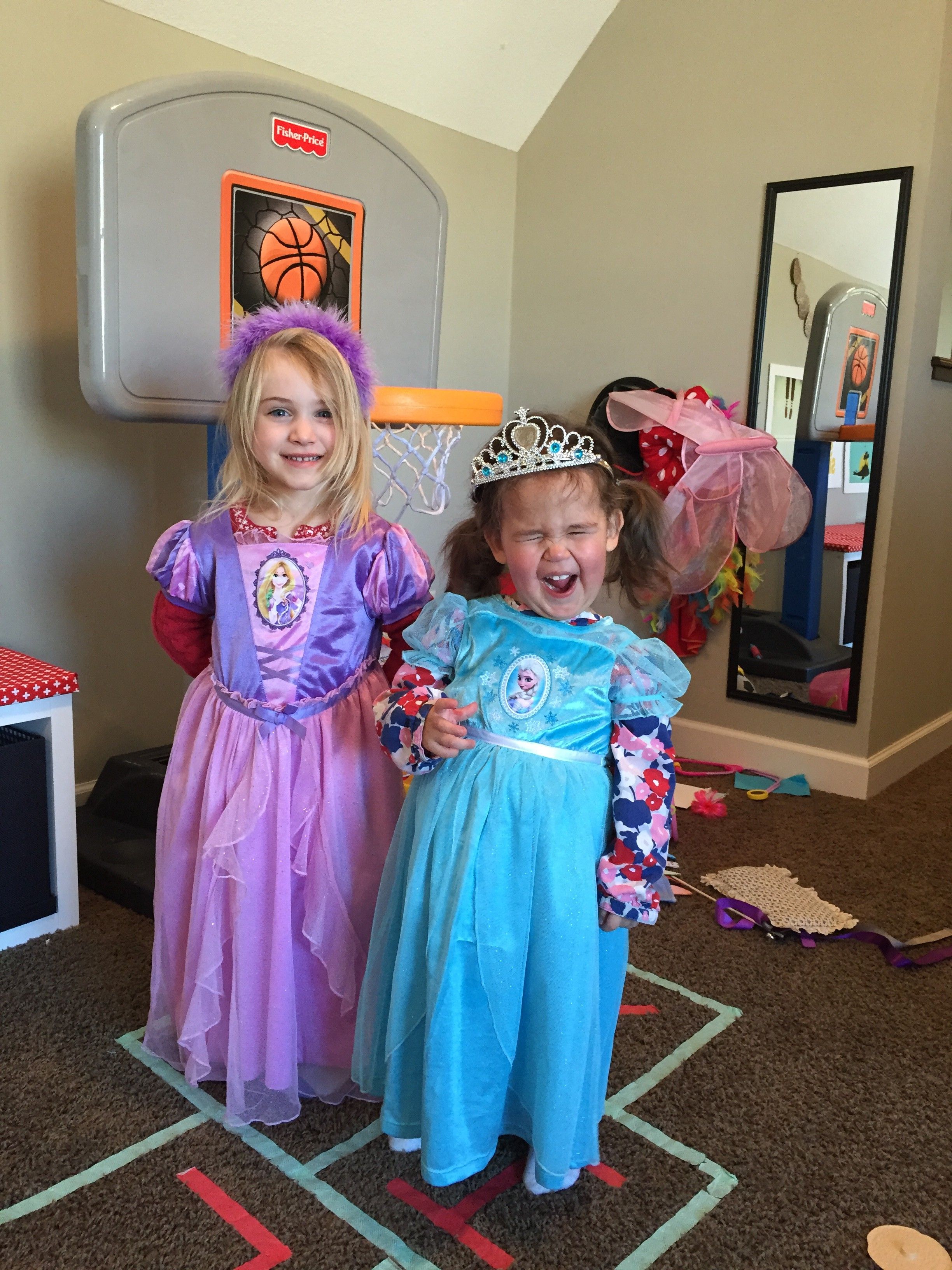 Emmy and her friend, Eloise playing princess.  Although, Emmy the princess is all about the PARTAAAY!!!